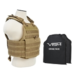 VISM Tactical Body Armor Molle Expert Plate Carrier Vest With IIIA Ballistic Panels - Tan