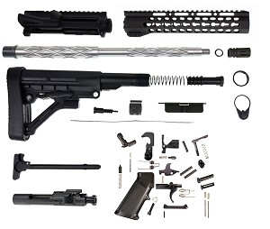 "Davidson Defense Complete Rifle DIY Kit 16"".223 Wylde Super Match Diamond Fluted 416R Stainless Steel Barrel 1-8T  10"" Slim Keymod Slant Pro Hangrd  & BCG  Everything Minus the Lower!"