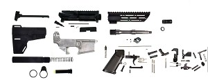 "Davidson Defense DIY Complete AR-15 Pistol Kit 80% Lower 7.5"" Stainless Steel Barrel 7"" M-Lok HandGuard (everything but the BCG!)"