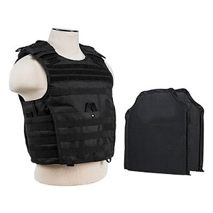 Tactical Body Armor Molle Expert Plate Carrier Vest With IIIA Ballistic Panels New 2016 mfg  - Black (Rated Up To 44 Magnum Point Blank Range)