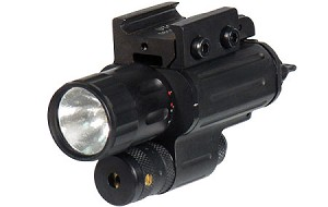 Xenon Flashlight and W/E Adjustable Red Laser Combo, 3-Stage Switch