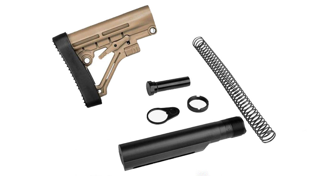 Trinity Force Omega AR-15 Collapsible Stock & Complete Mil-Spec Buffer Tube Kit Combo - FDE