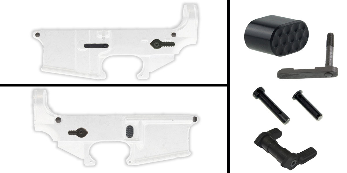 Omega Deals AR-15 Lower Enhancement Kit Featuring Omega Manufacturing Billet Magazine Release Button - Black, Tactical Superiority Take Down and Pivot Pins - Black, Armaspec Ambidextrous Safety Selector - Grey