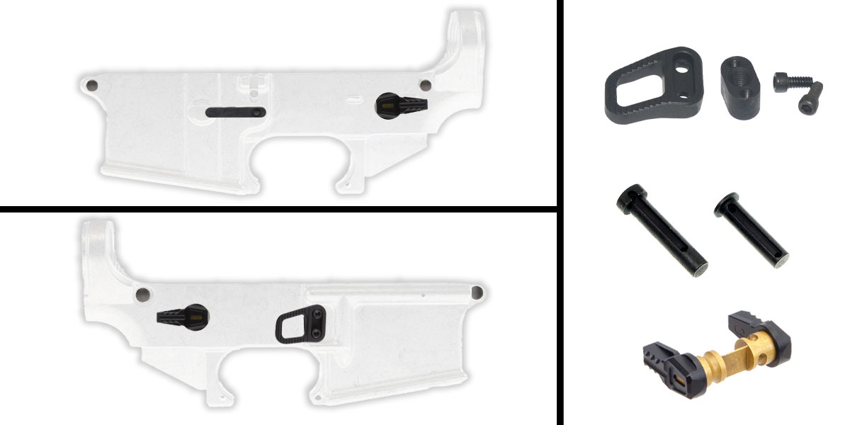 Omega Deals AR-15 Lower Enhancement Kit Featuring Armaspec Magazine Release - Black, Tactical Superiority Take Down and Pivot Pins - Black, Fortis Ambidextrous Safety Selector - Black