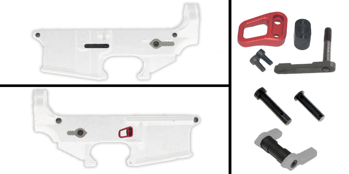 Omega Deals AR-15 Lower Enhancement Kit Featuring Armaspec Magazine Release - Red, Tactical Superiority Take Down and Pivot Pins - Black, Armaspec Ambidextrous Safety Selector - Grey