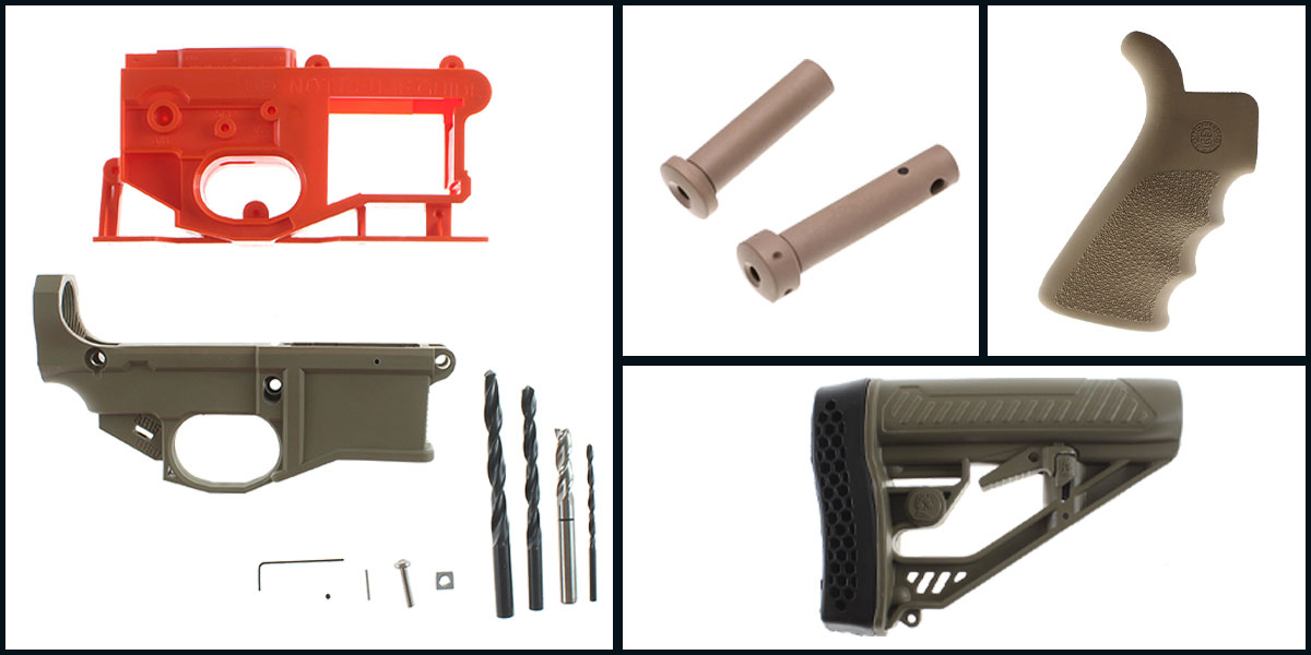 Omega Deals Polymer80 RL556v3 - 80% AR15 Polymer Lower - FDE + Armaspec Rhino Tactical Integrated Grip - FDE + Strike Industries LINK Anchor Polymer Hand Stop - FDE + Hogue AR-15/M-16 Rubber Grip w/Beavertail & Finger Grooves - FDE
