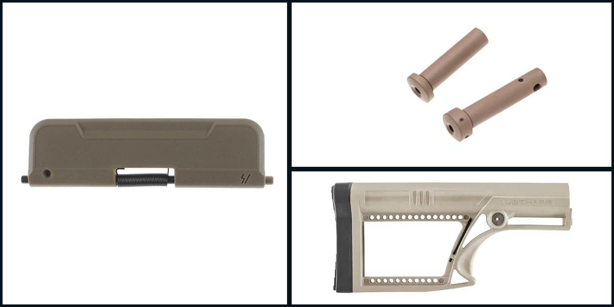 Omega Deals LUTH-AR MBA-2 Skullaton Rifle Buttstock - FDE + Armaspec Superlight Takedown/Pivot Pins - FDE + Strike Industries AR Enhanced Ultimate Dust Cover 223 Standard - FDE