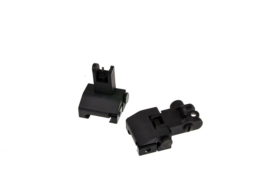Omega Mfg. Front and Rear Spring Loaded Flip-Up Sight Set - US Made