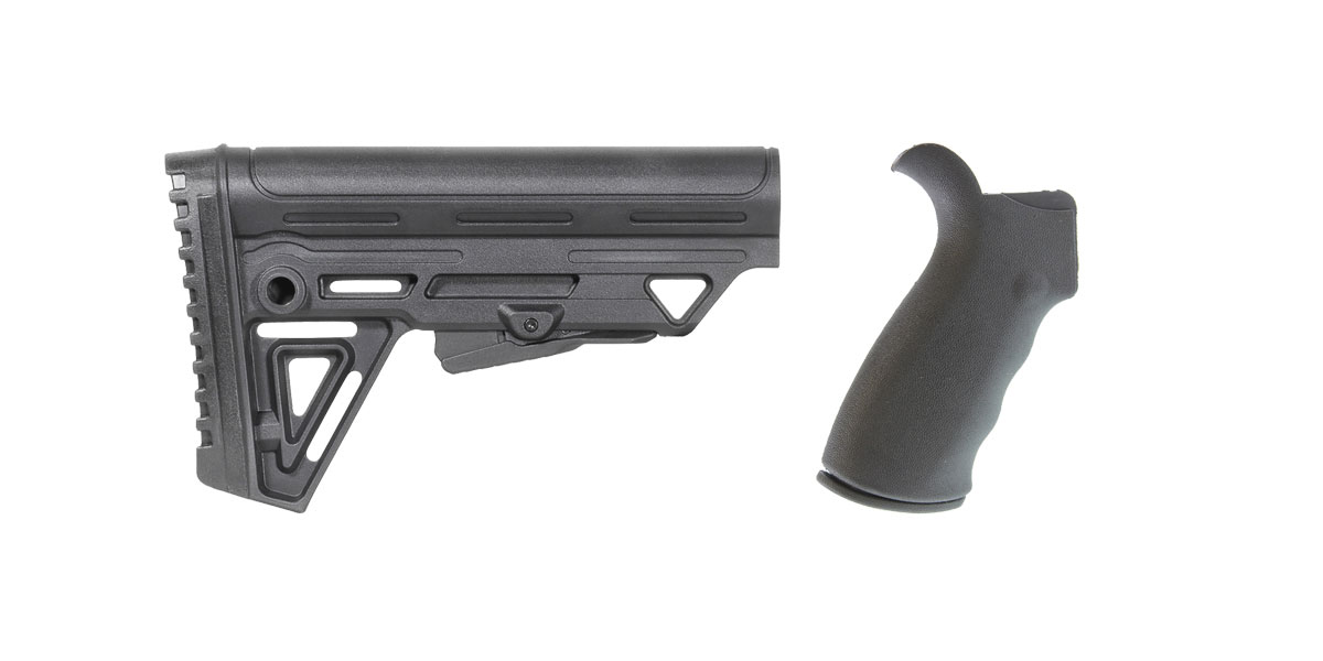 Omega Deals Omega Mfg. AR-15 Rear Beavertail grip, Rubberized Coating + Trinity Force Alpha Stock MK2 - Made in the USA