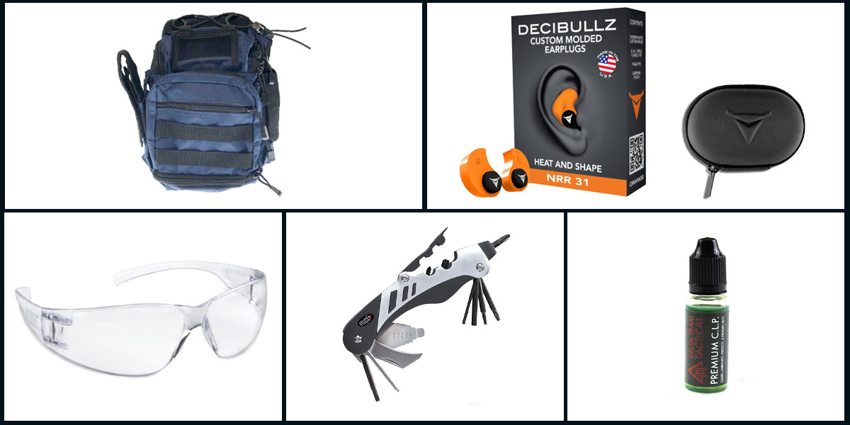 Omega Deals Range Ready Kit Ft. VISM Utility Bag - Blue + Decibullz Custom Molded Earplugs - Orange + Real Avid Multi Gun Tool