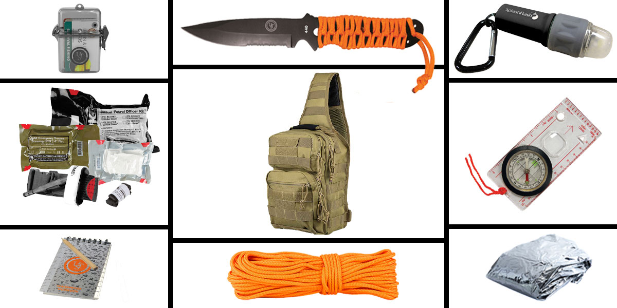 Omega Deals Preparedness Pack Featuring: VISM Shoulder Sling Utility Bag - Urban Gray, First Aid Kit, Knife, Light, Outdoor Skills Pocket Reference Guides, Waterproof Note Pad, Emergency Space Poncho, Compass, and 50' of Paracord