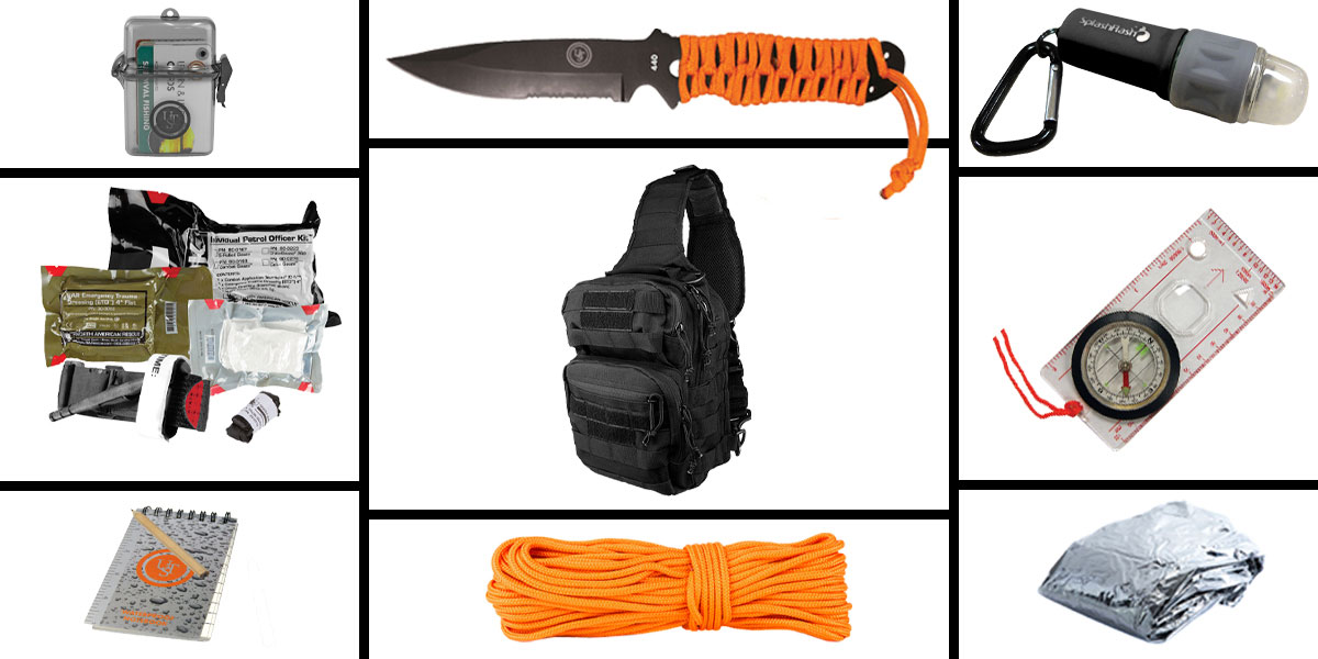 Omega Deals Preparedness Pack Featuring: VISM Shoulder Sling Utility Bag - Black, First Aid Kit, Knife, Light, Outdoor Skills Pocket Reference Guides, Waterproof Note Pad, Emergency Space Poncho, Compass, and 50' of Paracord