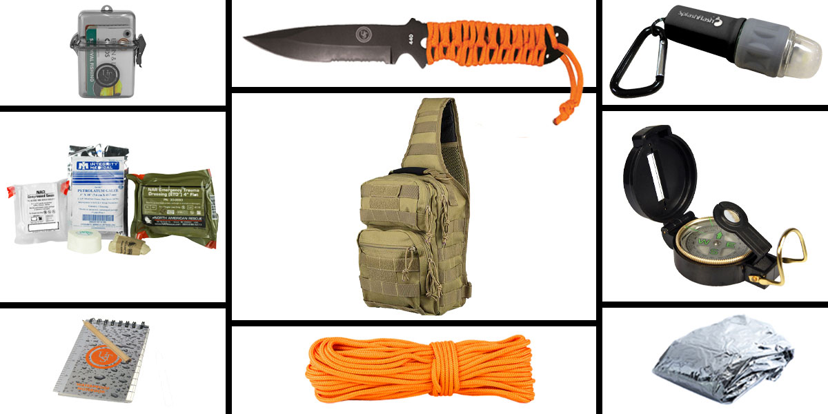 Omega Deals Preparedness Pack Featuring: VISM Shoulder Sling Utility Bag -Urban Gray , First Aid Kit, Knife, Light, Outdoor Skills Pocket Reference Guides, Waterproof Note Pad, Emergency Space Poncho, Compass, and 50' of Paracord