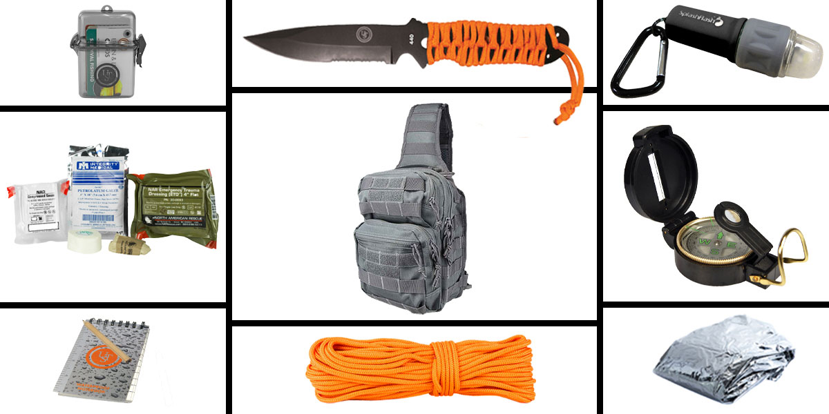 Omega Deals Preparedness Pack Featuring: VISM Shoulder Sling Utility Bag -Tan, First Aid Kit, Knife, Light, Outdoor Skills Pocket Reference Guides, Waterproof Note Pad, Emergency Space Poncho, Compass, and 50' of Paracord