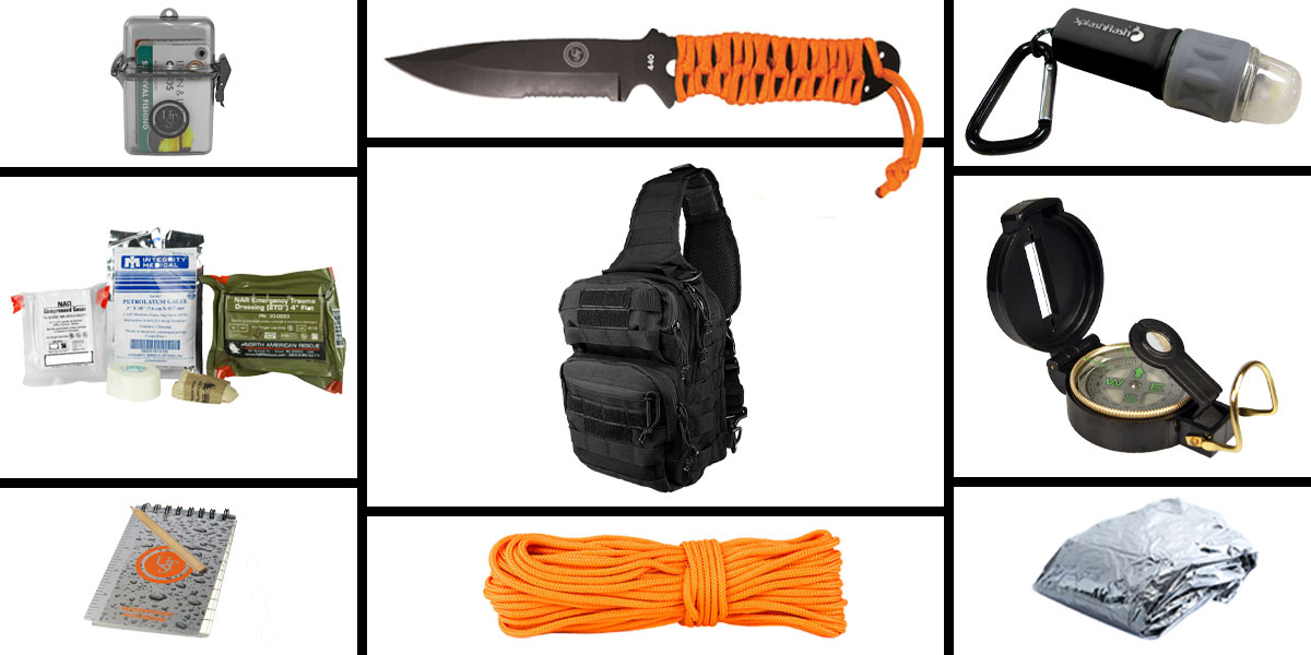 Omega Deals Preparedness Pack Featuring: VISM Shoulder Sling Utility Bag -Black , First Aid Kit, Knife, Light, Outdoor Skills Pocket Reference Guides, Waterproof Note Pad, Emergency Space Poncho, Compass, and 50' of Paracord