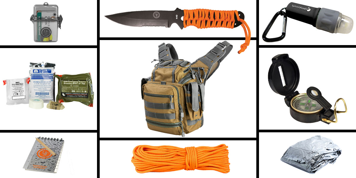 Omega Deals Preparedness Pack Featuring: VISM First Responders Utility Bag - Tan and Urban Gray, First Aid Kit, Knife, Light, Outdoor Skills Pocket Reference Guides, Waterproof Note Pad, Emergency Space Poncho, Compass, and 50' of Paracord
