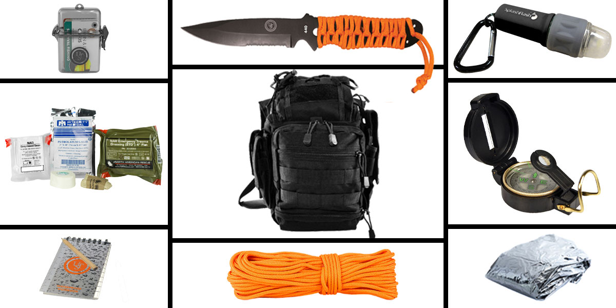 Omega Deals Preparedness Pack Featuring: VISM First Responders Utility Bag - Black, First Aid Kit, Knife, Light, Outdoor Skills Pocket Reference Guides, Waterproof Note Pad, Emergency Space Poncho, Compass, and 50' of Paracord
