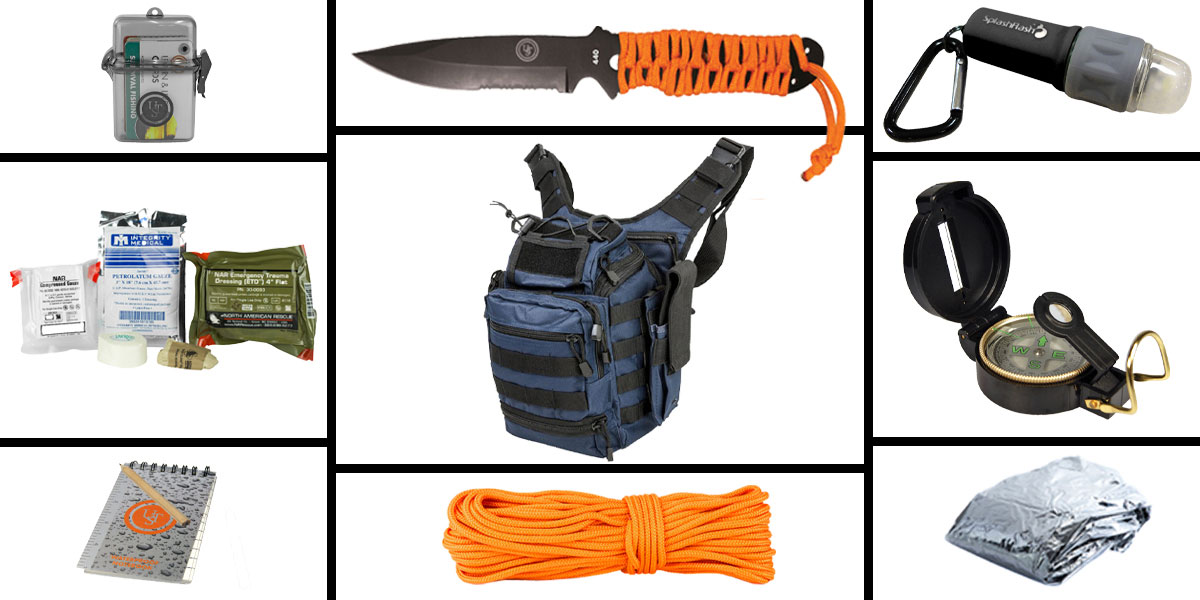 Omega Deals Preparedness Pack Featuring: VISM First Responders Utility Bag - Blue, First Aid Kit, Knife, Light, Outdoor Skills Pocket Reference Guides, Waterproof Note Pad, Emergency Space Poncho, Compass, and 50' of Paracord