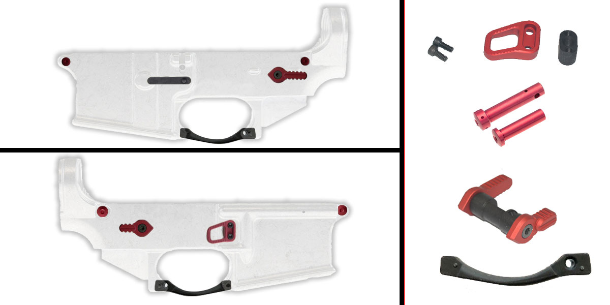 Omega Deals AR-15 Lower Enhancement Kit Featuring BCM Gunfighter AR-15 Trigger Guard - Black, Armaspec B2 Extended Mag Release - Red, Armaspec FT90 Full Throw Ambi Safety Selector - Red, Armaspec Superlight Takedown/Pivot Pins - Red