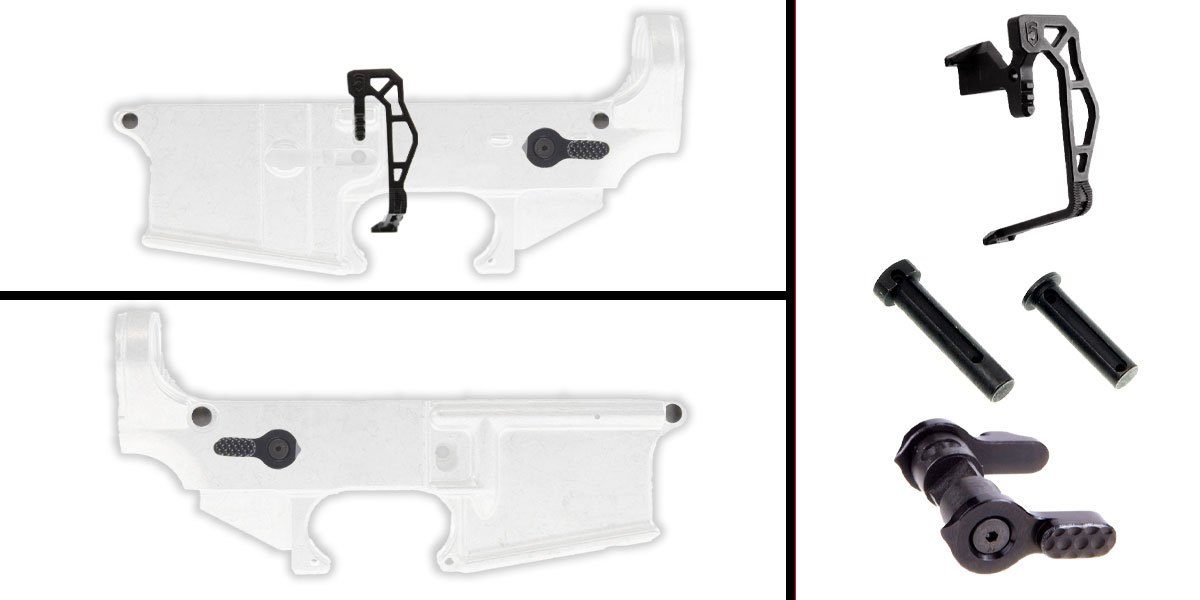 Omega Deals AR-15 Lower Enhancement Kit Featuring Phase 5 Extended Bolt Release V3 - Black + Tactical Superiority Take Down and Pivot Pins - Black + Shooting Innovations AR-15 Ambi 60/90 Safety Selector - Black