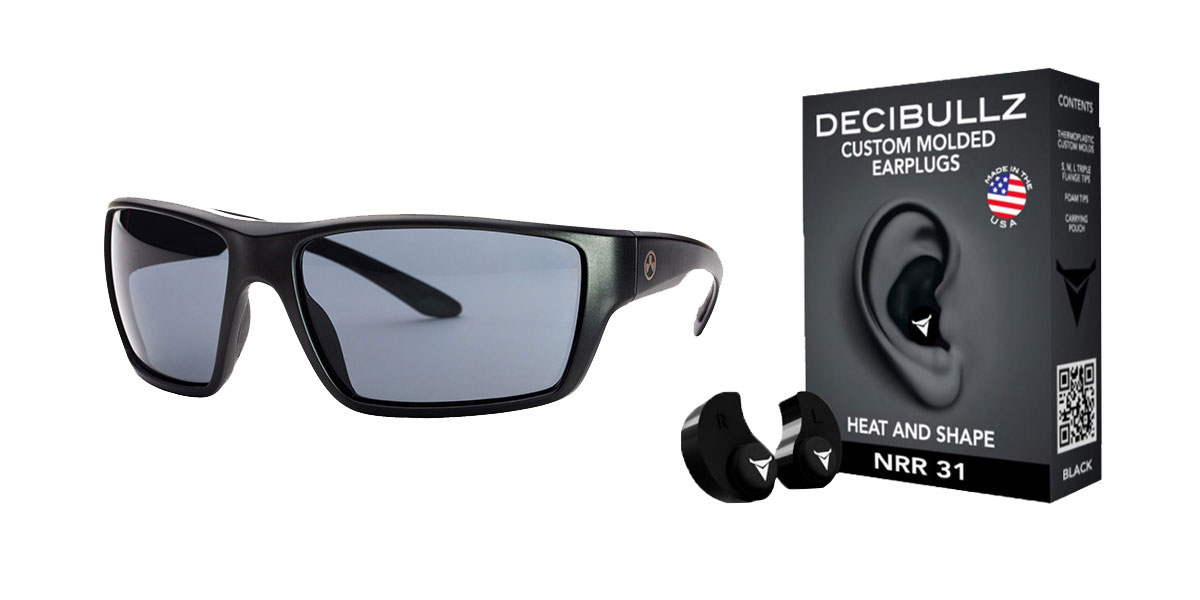 Omega Deals Shooter Safety Packs Featuring Decibullz Custom Molded Earplugs - Black + Magpul Terrain Glasses - Matte Black