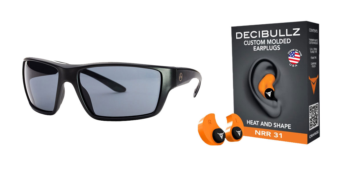 Omega Deals Shooter Safety Packs Featuring Decibullz Custom Molded Earplugs - Orange + Magpul Terrain Glasses - Matte Black