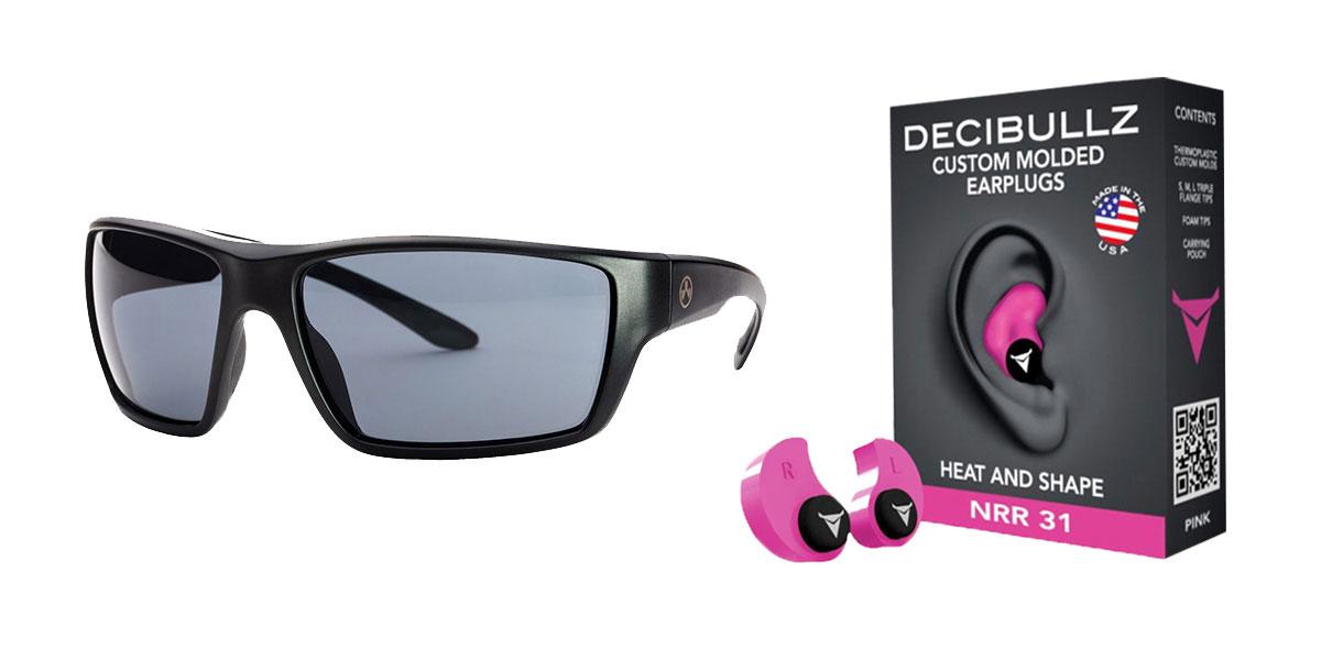 Omega Deals Shooter Safety Packs Featuring Decibullz Custom Molded Earplugs - Pink + Magpul Terrain Glasses - Matte Black