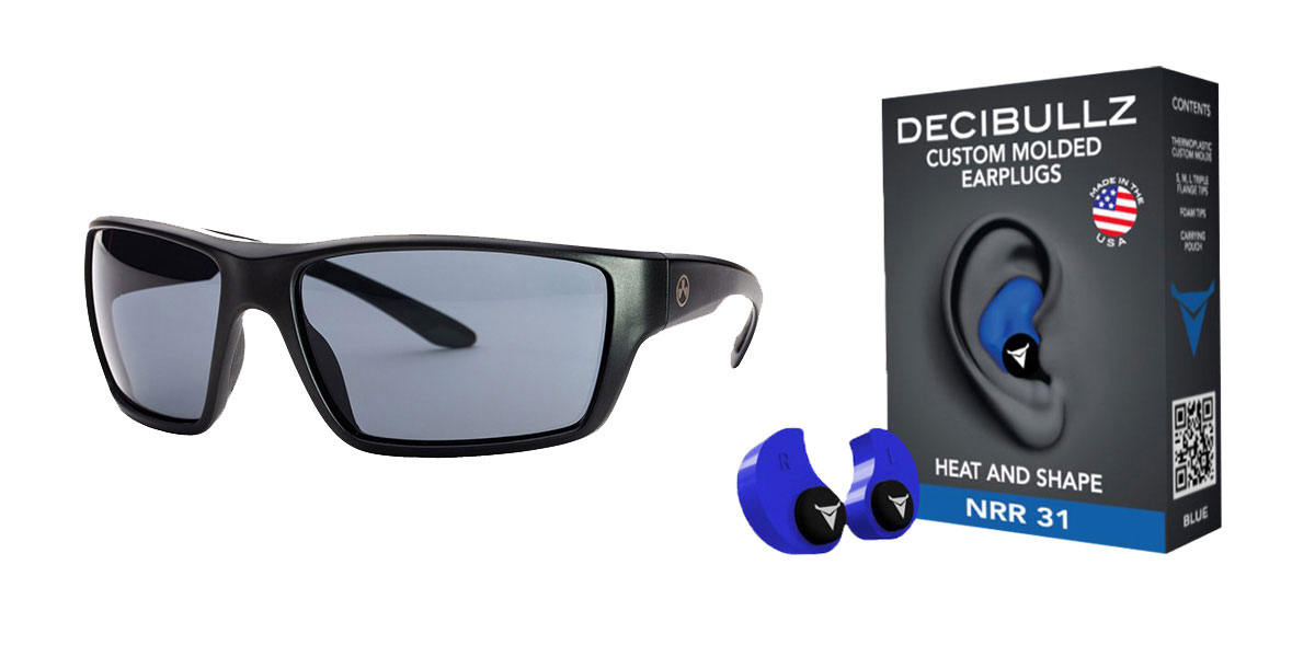 Omega Deals Shooter Safety Packs Featuring Decibullz Custom Molded Earplugs - Blue + Magpul Terrain Glasses - Matte Black