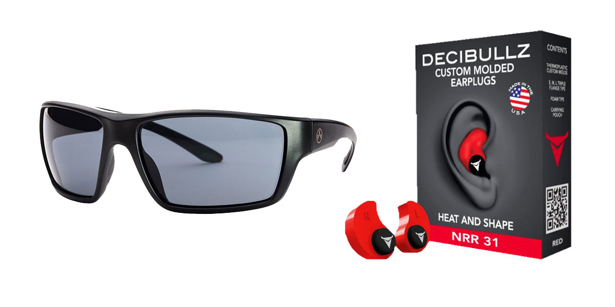 Omega Deals Shooter Safety Packs Featuring Decibullz Custom Molded Earplugs - Red + Magpul Terrain Glasses - Matte Black