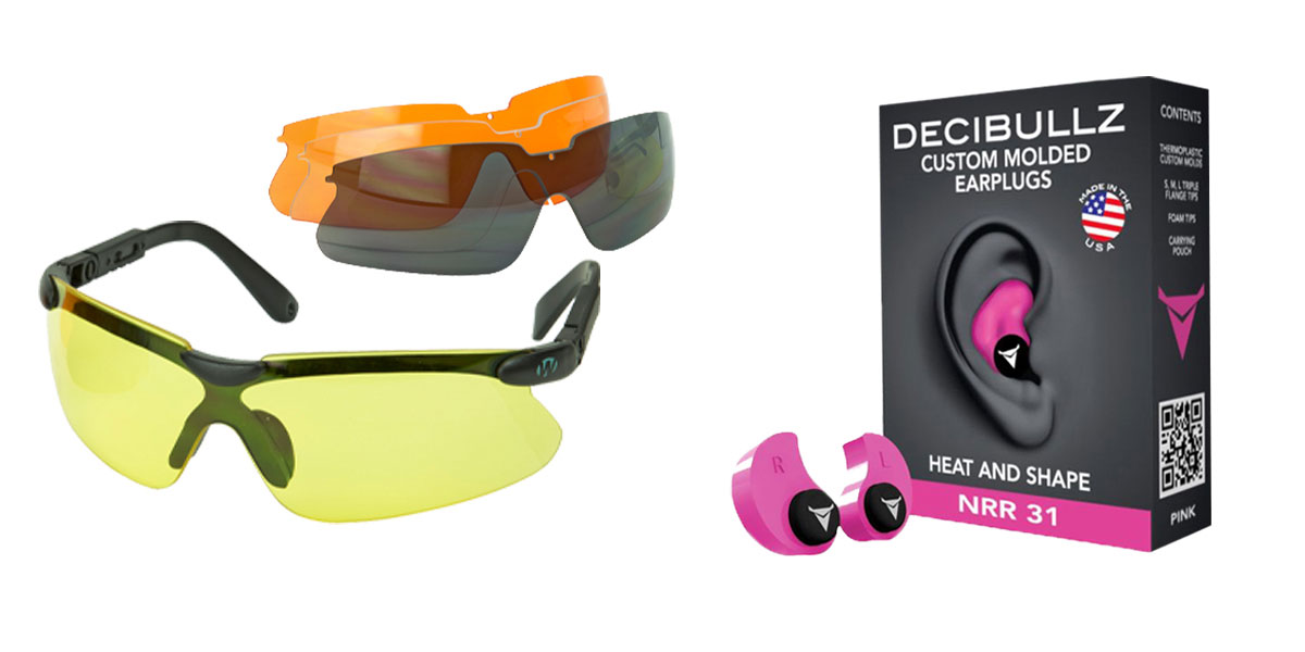Omega Deals Shooter Safety Packs Featuring Decibullz Custom Molded Earplugs - Pink + Walker's, Glasses, Smoke Gray, Amber, Yellow, and Clear Lens Kit Included, 1 Pair