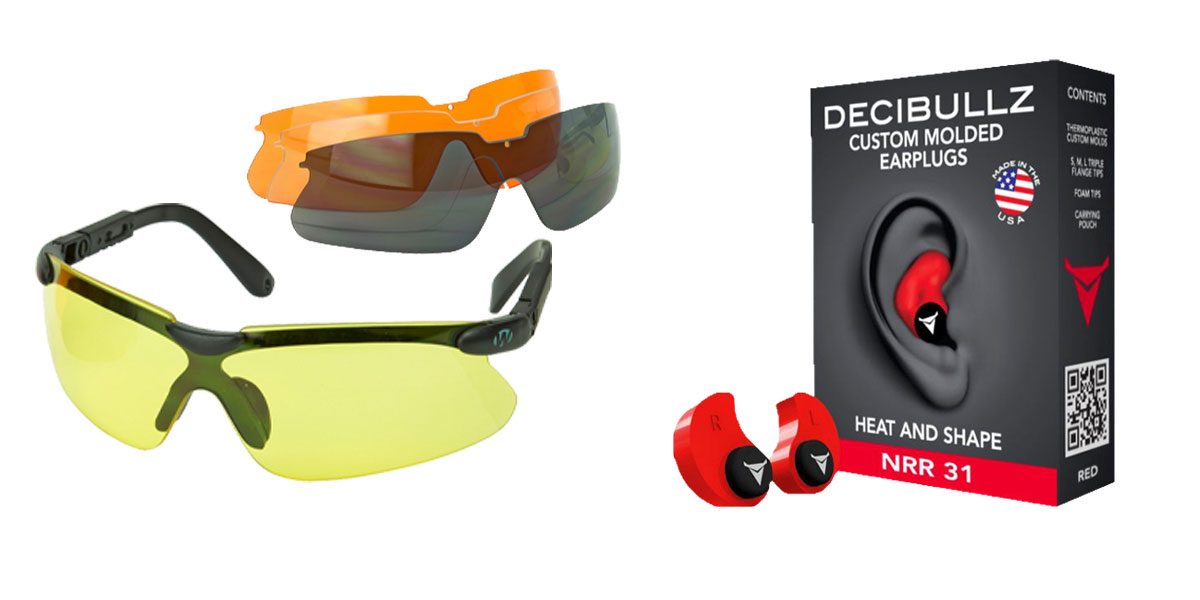 Omega Deals Shooter Safety Packs Featuring Decibullz Custom Molded Earplugs - Red + Walker's, Glasses, Smoke Gray, Amber, Yellow, and Clear Lens Kit Included, 1 Pair