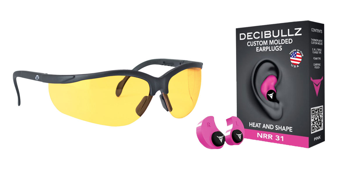 Omega Deals Shooter Safety Packs Featuring Decibullz Custom Molded Earplugs - Pink + Walker's, Glasses, Yellow, 1 Pair