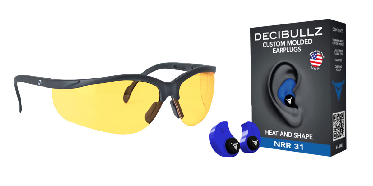 Omega Deals Shooter Safety Packs Featuring Decibullz Custom Molded Earplugs - Blue + Walker's, Glasses, Yellow, 1 Pair