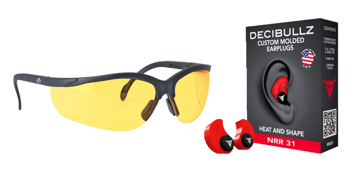 Omega Deals Shooter Safety Packs Featuring Decibullz Custom Molded Earplugs - Red + Walker's, Glasses, Yellow, 1 Pair