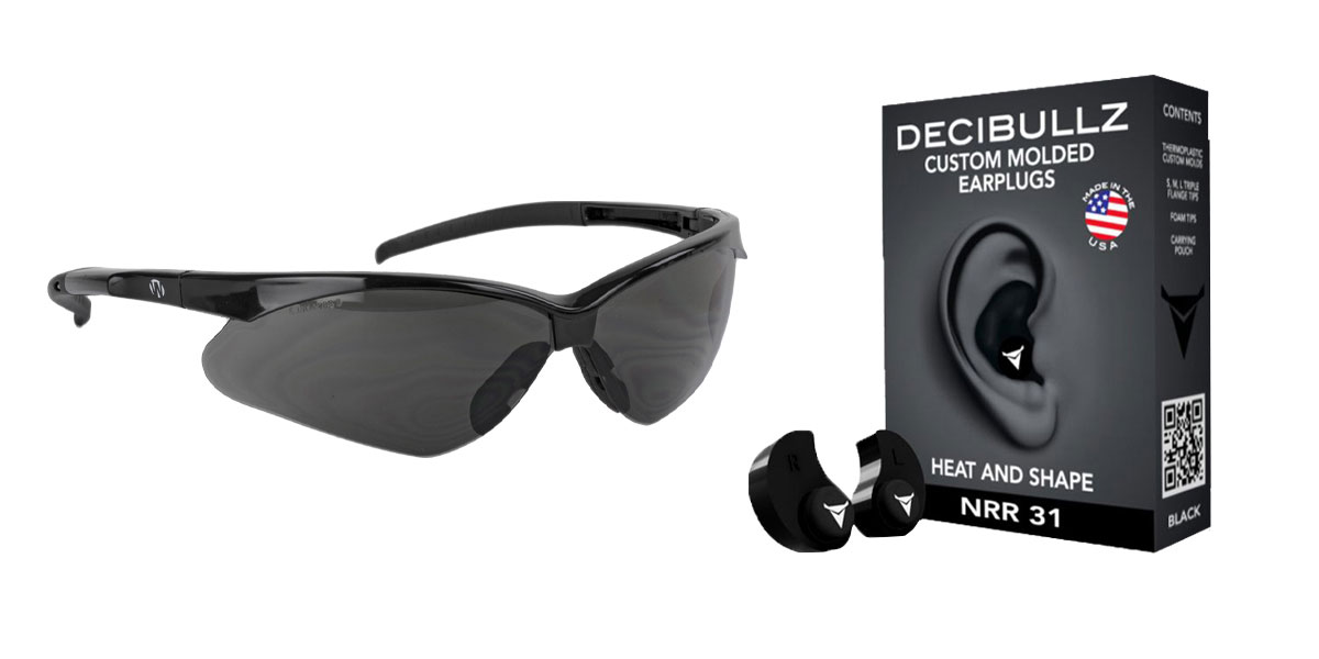 Omega Deals Shooter Safety Packs Featuring Decibullz Custom Molded Earplugs - Black + Walker's, Crosshair, Shooting Glasses, Polycarbonate Lens, Smoke