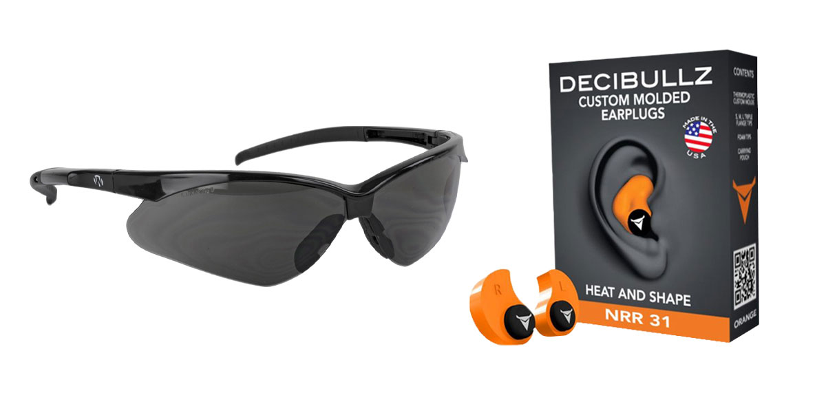 Omega Deals Shooter Safety Packs Featuring Decibullz Custom Molded Earplugs - Orange + Walker's, Crosshair, Shooting Glasses, Polycarbonate Lens, Smoke