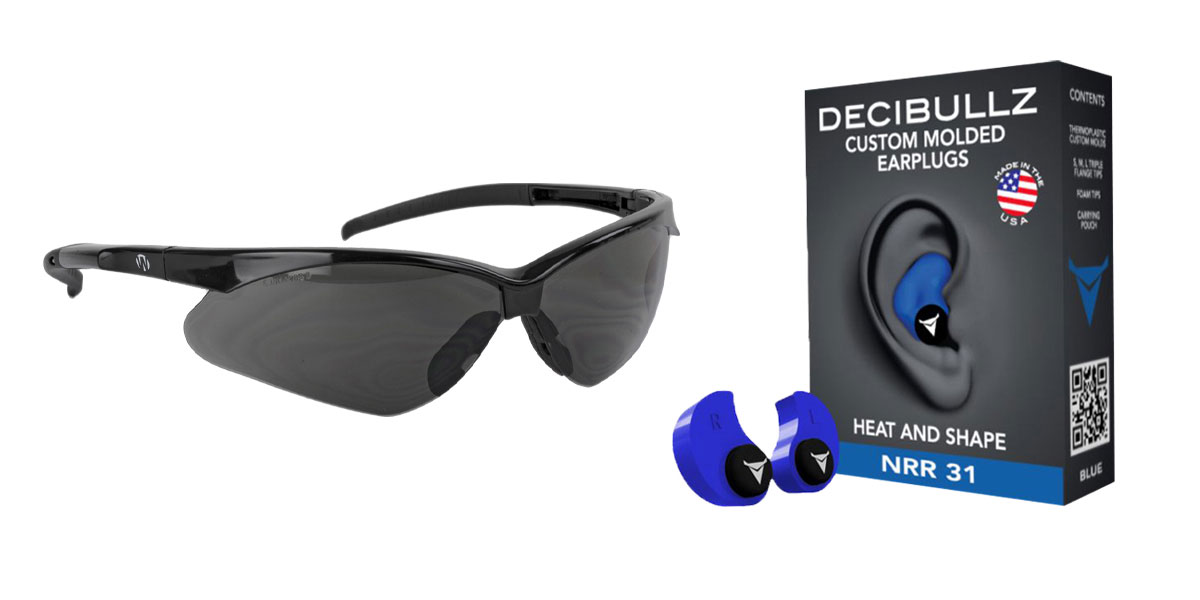 Omega Deals Shooter Safety Packs Featuring Decibullz Custom Molded Earplugs - Blue + Walker's, Crosshair, Shooting Glasses, Polycarbonate Lens, Smoke