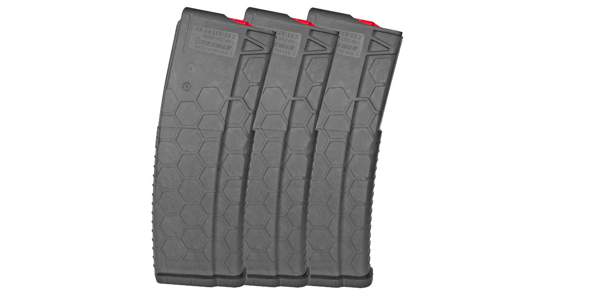 HEXMAG, Dark Grey Finish, Red Follower and Latch Plate, .223 Remington/5.56 NATO, 30Rd Magazine - 3 Pack