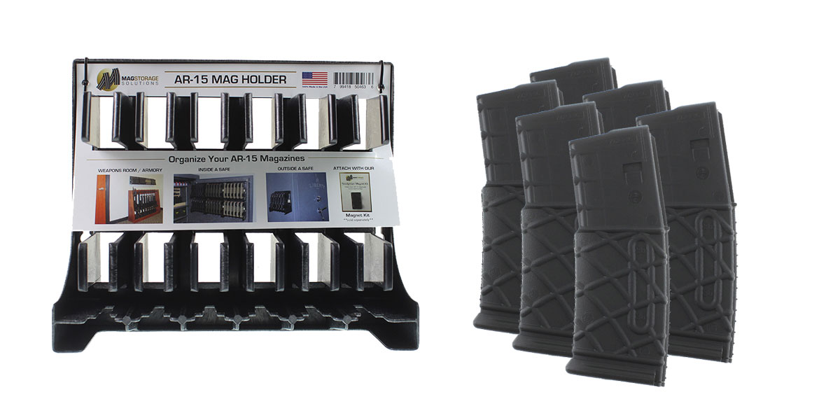 Omega Deals AR-15 MagStorage Solutions Magazine Holder + MMC Armory AR-15 10 Round Magazine - 6 Pack