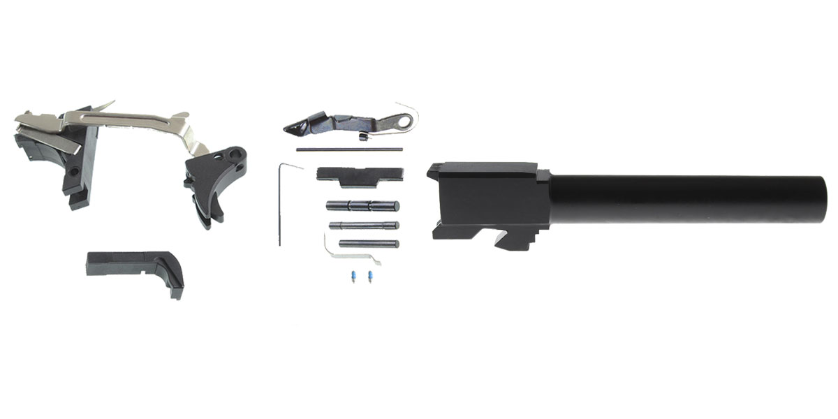 Omega Deals DIY Pistol Kit G17 Alpha One Outdoors Glock Frame Kit with Billet Trigger, Extended Mag Release, And Extended Slide Lock + Glock 17 Compatible Barrel, Non-Threaded Muzzle, 9x19mm, Stainless Steel, Nitride Finish