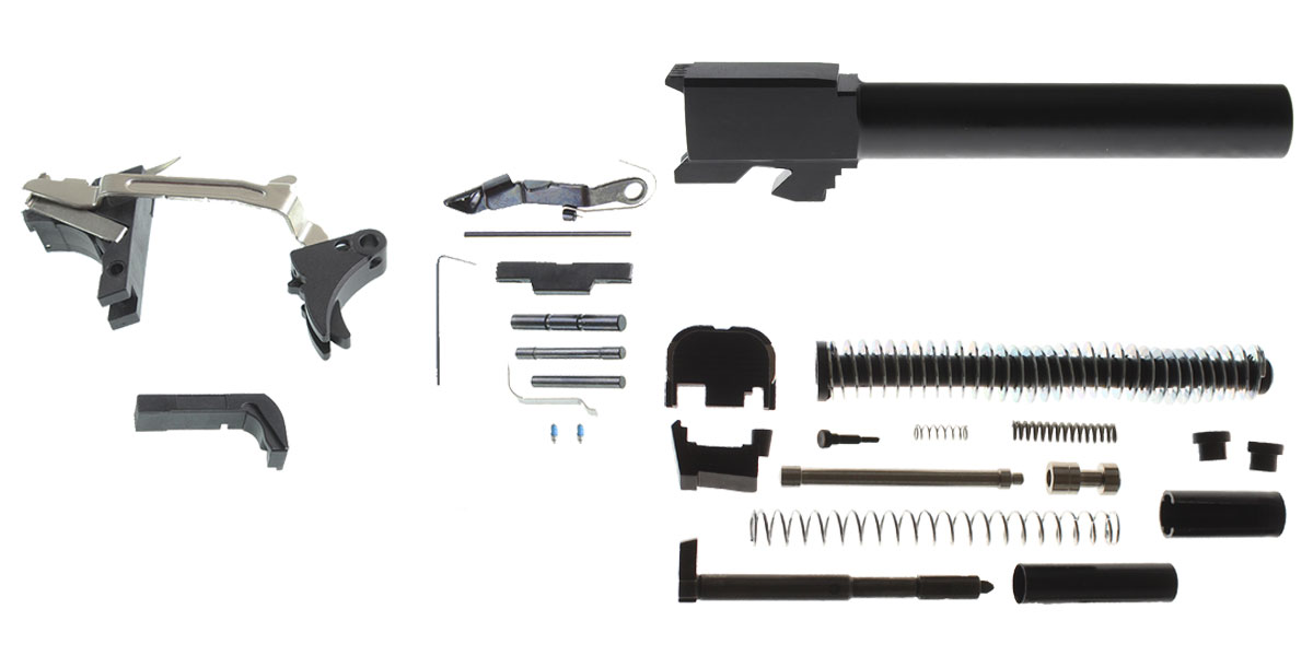 Omega Deals DIY Pistol Kit G17 Alpha One Outdoors Glock Frame Kit with Billet Trigger, Extended Mag Release, And Extended Slide Lock + Glock 17 Compatible Barrel, Non-Threaded Muzzle, 9x19mm, Stainless Steel, Nitride Finish + Alpha One Glock 17 Slide Kit