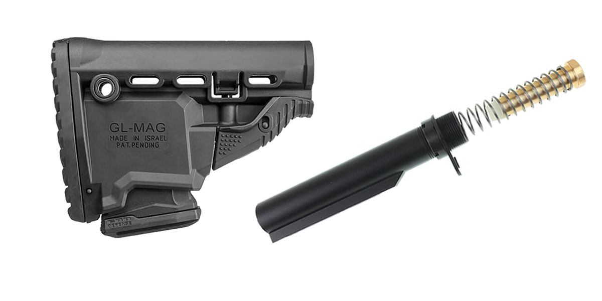Omega Deals FAB Defense AR-15 Survival Buttstock w/Built-in Mag Carrier - Black + Omega Mfg. Mil-Spec Buffer Tube Kit