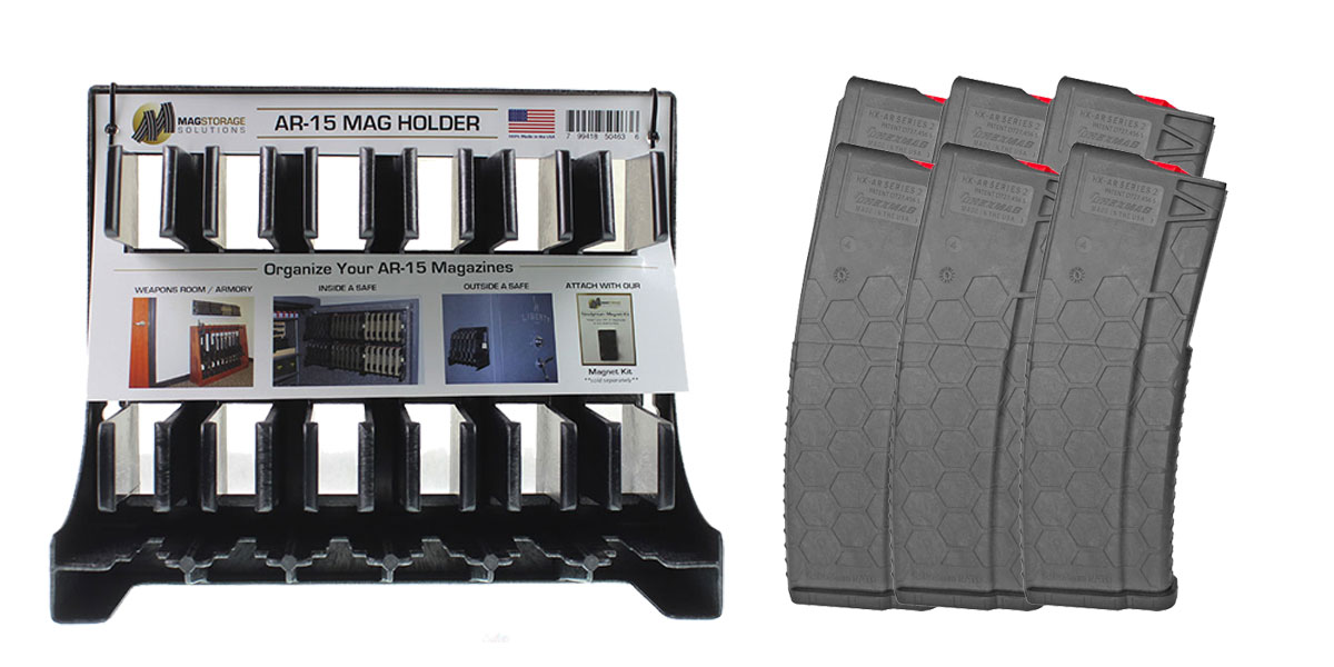 Omega Deals MagStorage Solutions AR-15 Magazine Holder + HEXMAG, .223 Remington/5.56 NATO, 30Rd Magazine - 6 Pack
