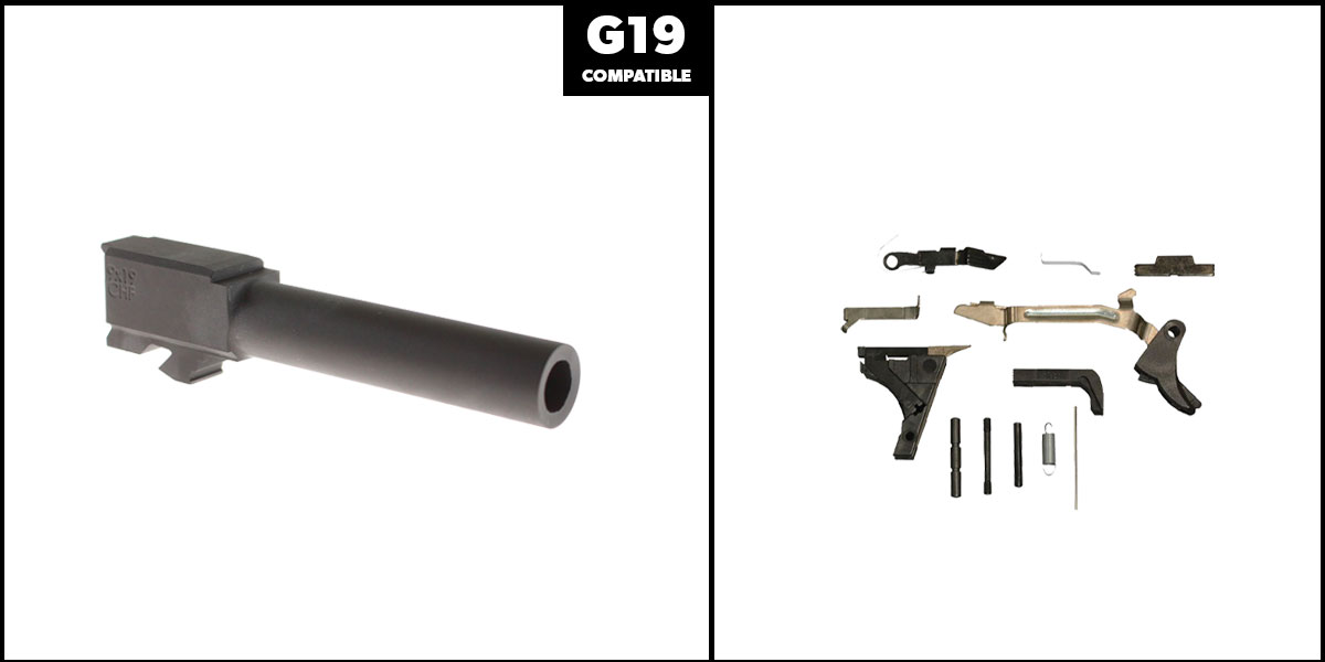Omega Deals DIY Pistol Kits Featuring: Cold Hammer Forged 9MM Barrel G19 Non-Threaded + Alpha One Glock Lower Parts Kit