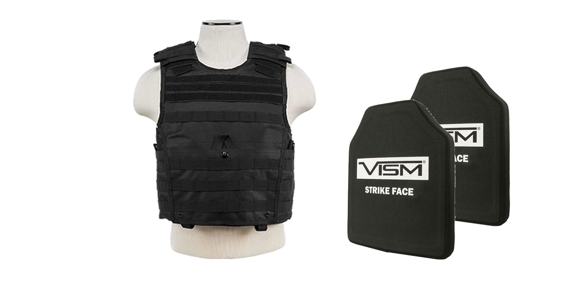 Omega Deals VISM NIJ Level 3 Ballistic Hard Panel x2 + VISM Plate Carrier Vest Only