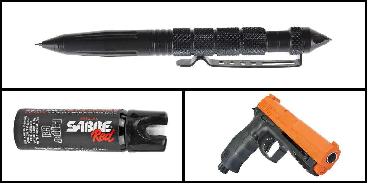 Omega Deals Less Lethal Combo Sabre Self Defense Pepper Gel + Pepper Ball Air Pistol + Heavy Duty Tactical Pen