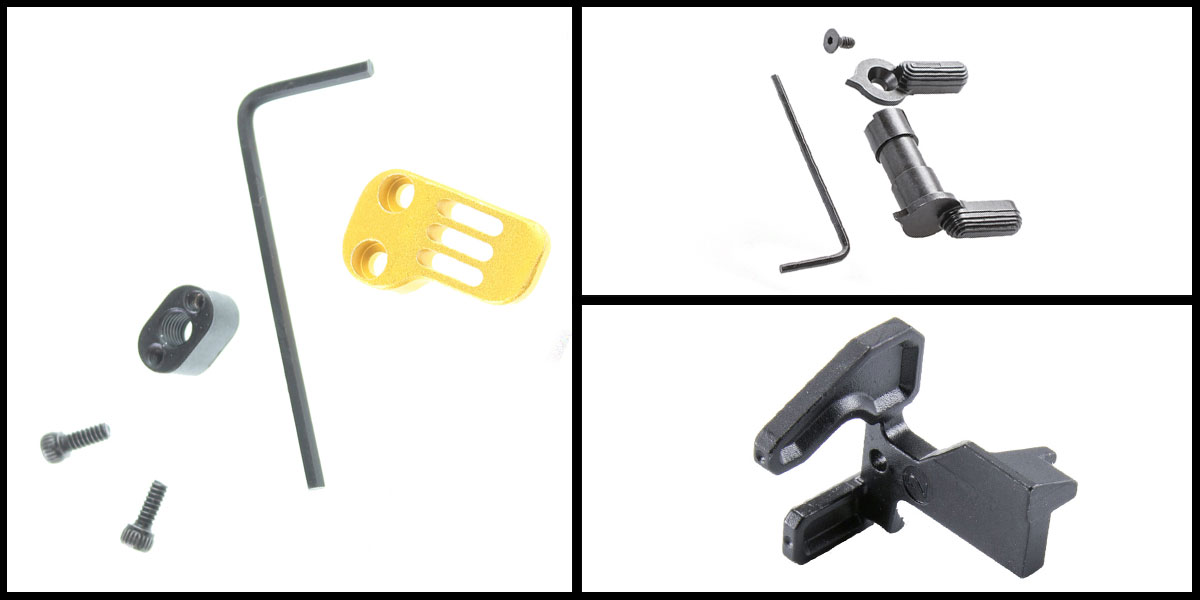 Omega Deals Geissele Maritime Bolt Catch + Guntec Extended Mag Catch Paddle Release - Gold + CMMG Ambi Safety Selector