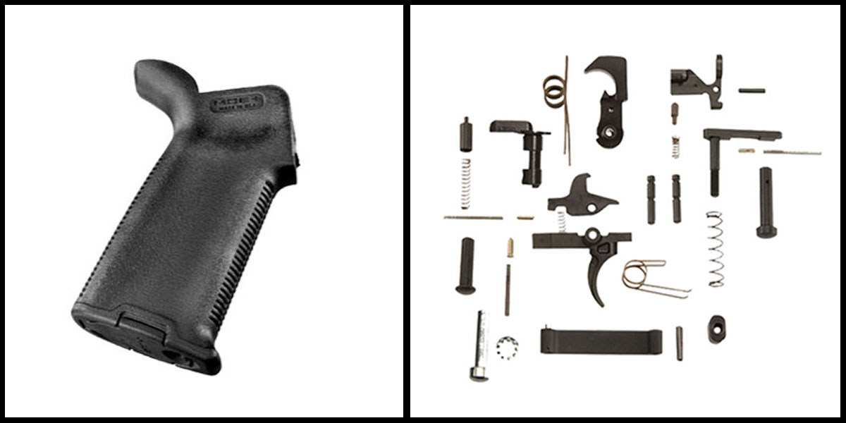 Omega Deals KAK AR-15 Lower Parts Kit w/ no Grip + Magpul AR-15 MOE+ Grip - Black