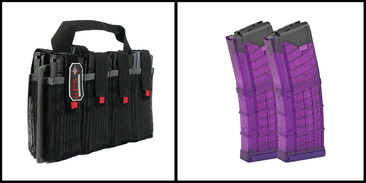 Omega Deals G-Outdoors Inc AR-15 Magazine Tote + Lancer L5 Advanced Warfighter Magazine - Purple x2