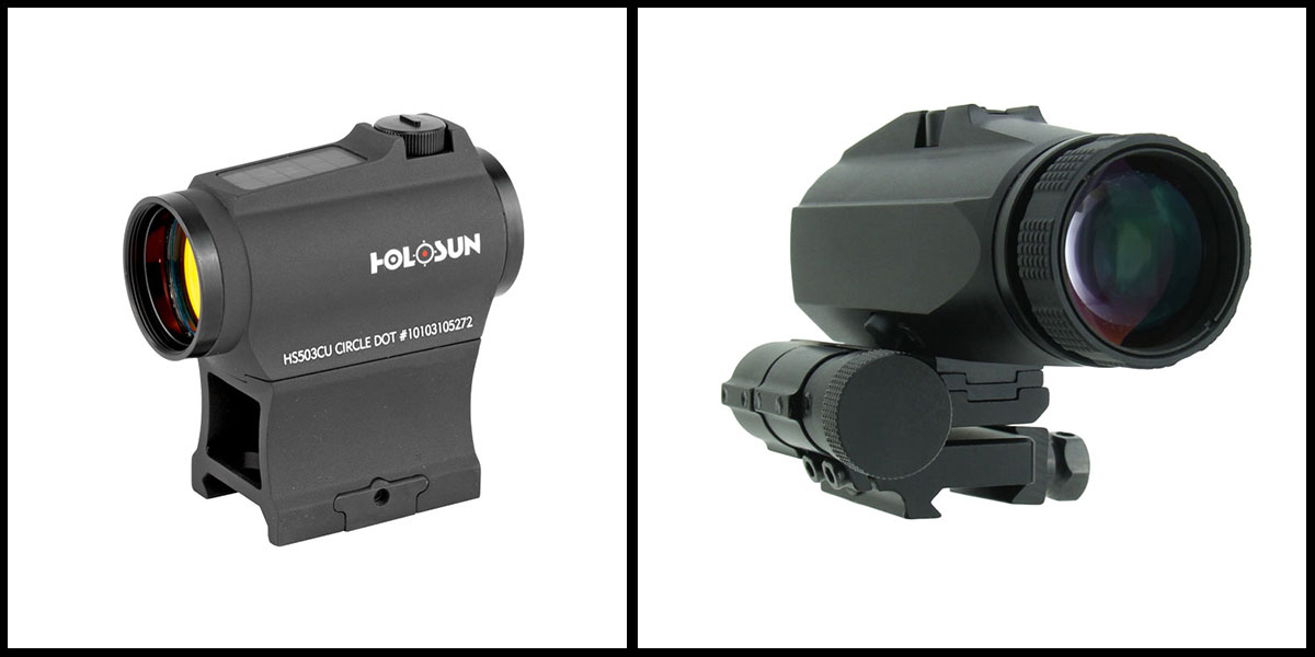 Omega Deals Flip to Side 3x Magnifier + Holosun Micro Red Dot Sight